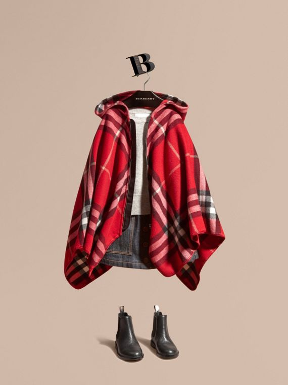 Check Wool Cashmere Hooded Poncho in Parade Red - Girl | Burberry