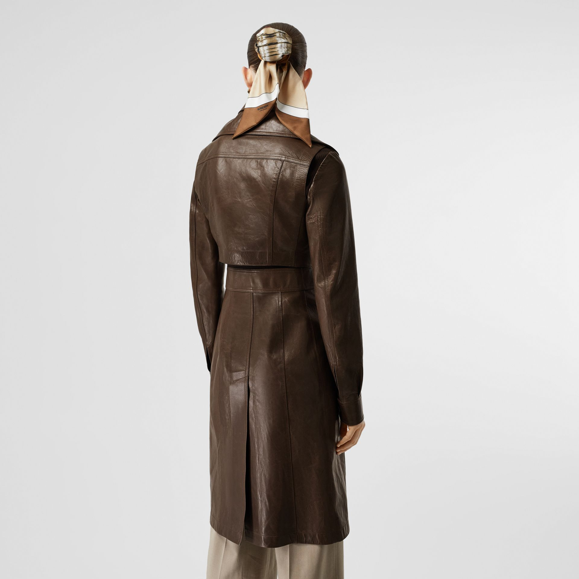 Lambskin Coat with Detachable Cropped Gilet in Dark Brown - Women | Burberry - gallery image 2
