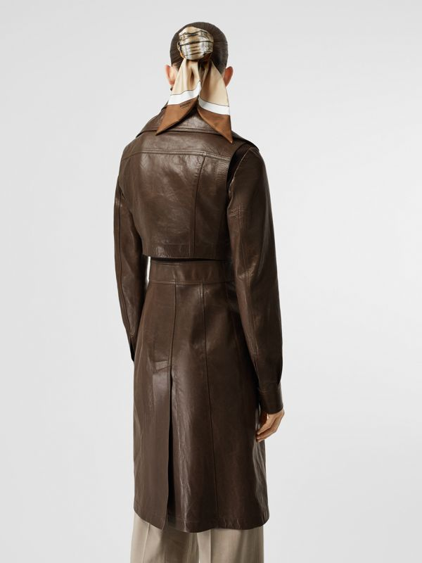 Lambskin Coat with Detachable Cropped Gilet in Dark Brown - Women | Burberry - cell image 2