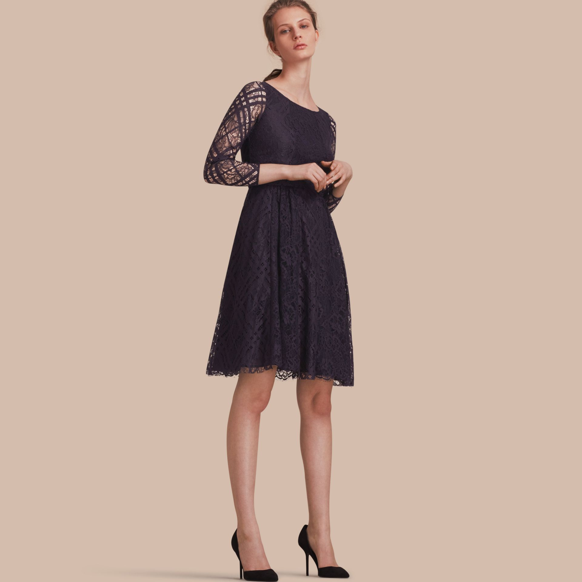 Check Lace Fit and Flare Dress in Navy - Women | Burberry - gallery image 1