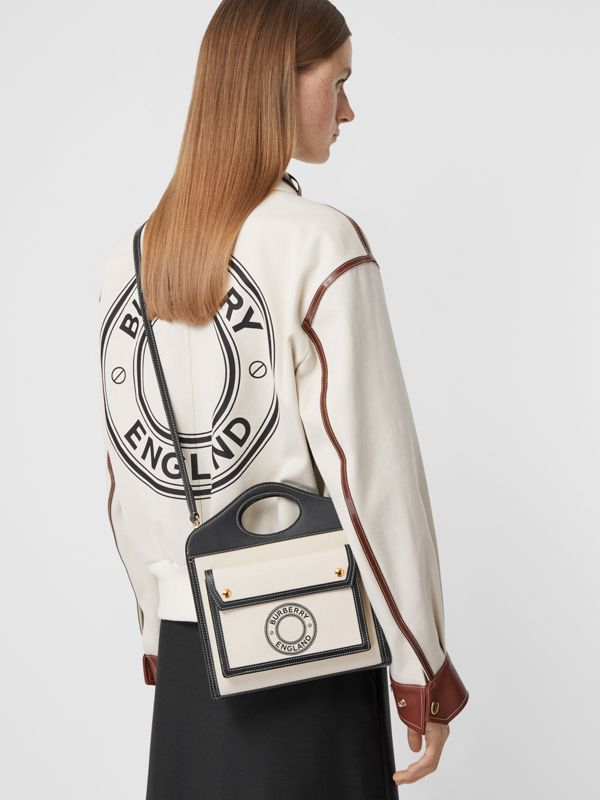 Mini Logo Graphic Canvas and Leather Pocket Bag in Black - Women | Burberry United States - cell image 2
