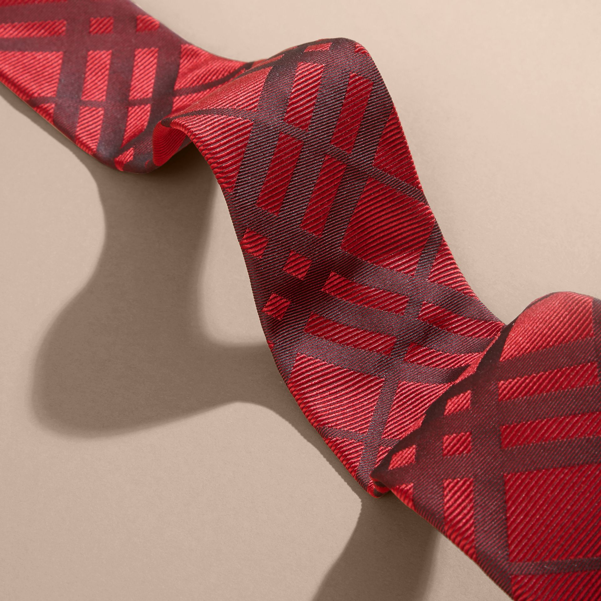 Parade red Modern Cut Check Jacquard Silk TIe Parade Red - gallery image 2