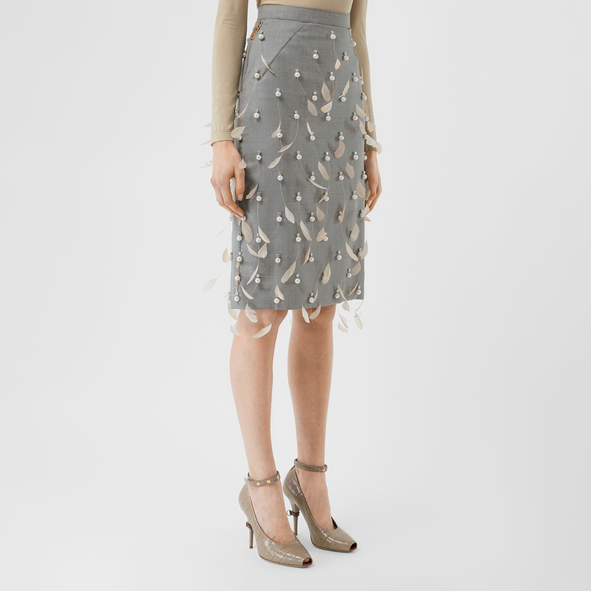 Embellished Wool Pencil Skirt in Flint - Women | Burberry Canada - gallery image 4