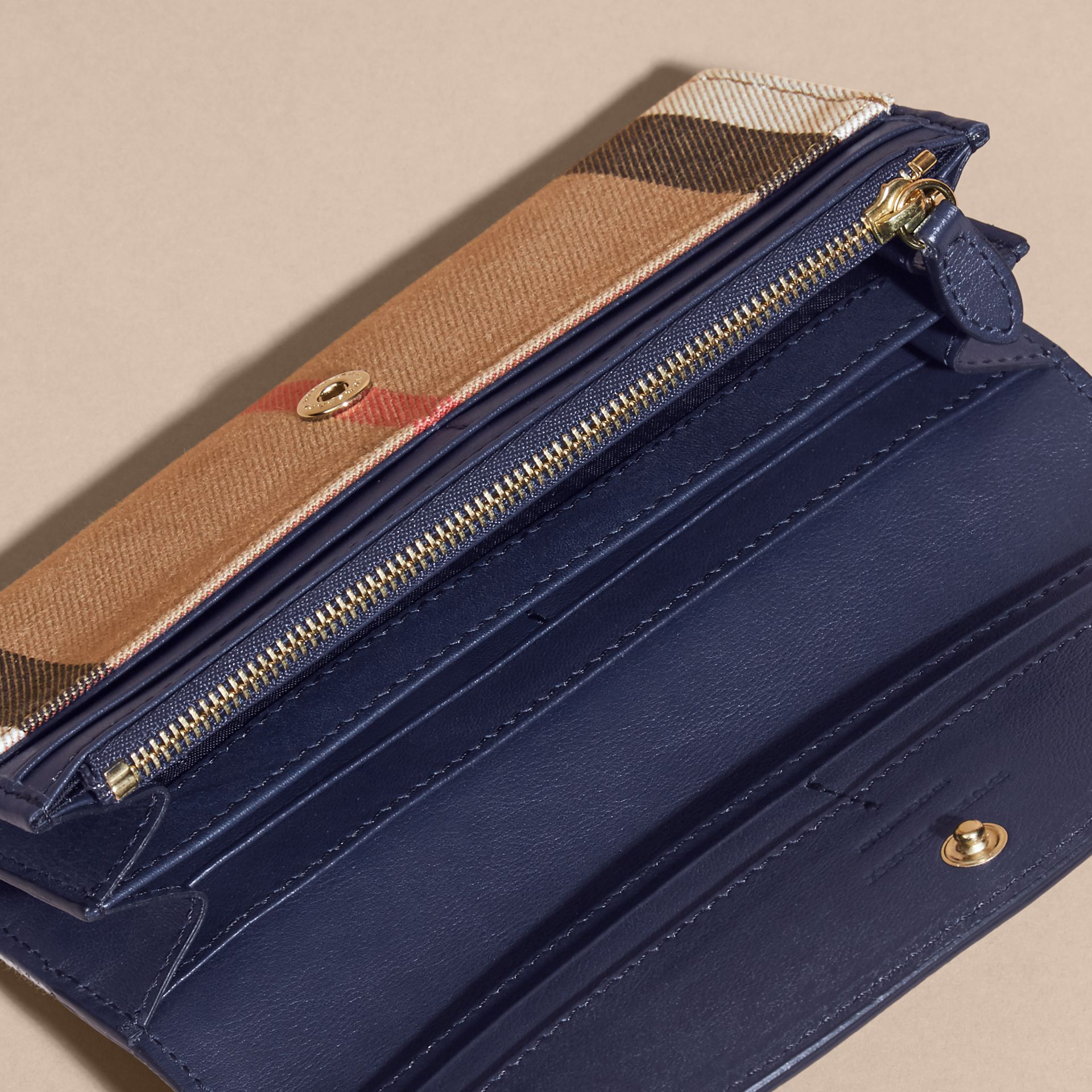 House Check And Leather Continental Wallet Ink Blue - gallery image 6