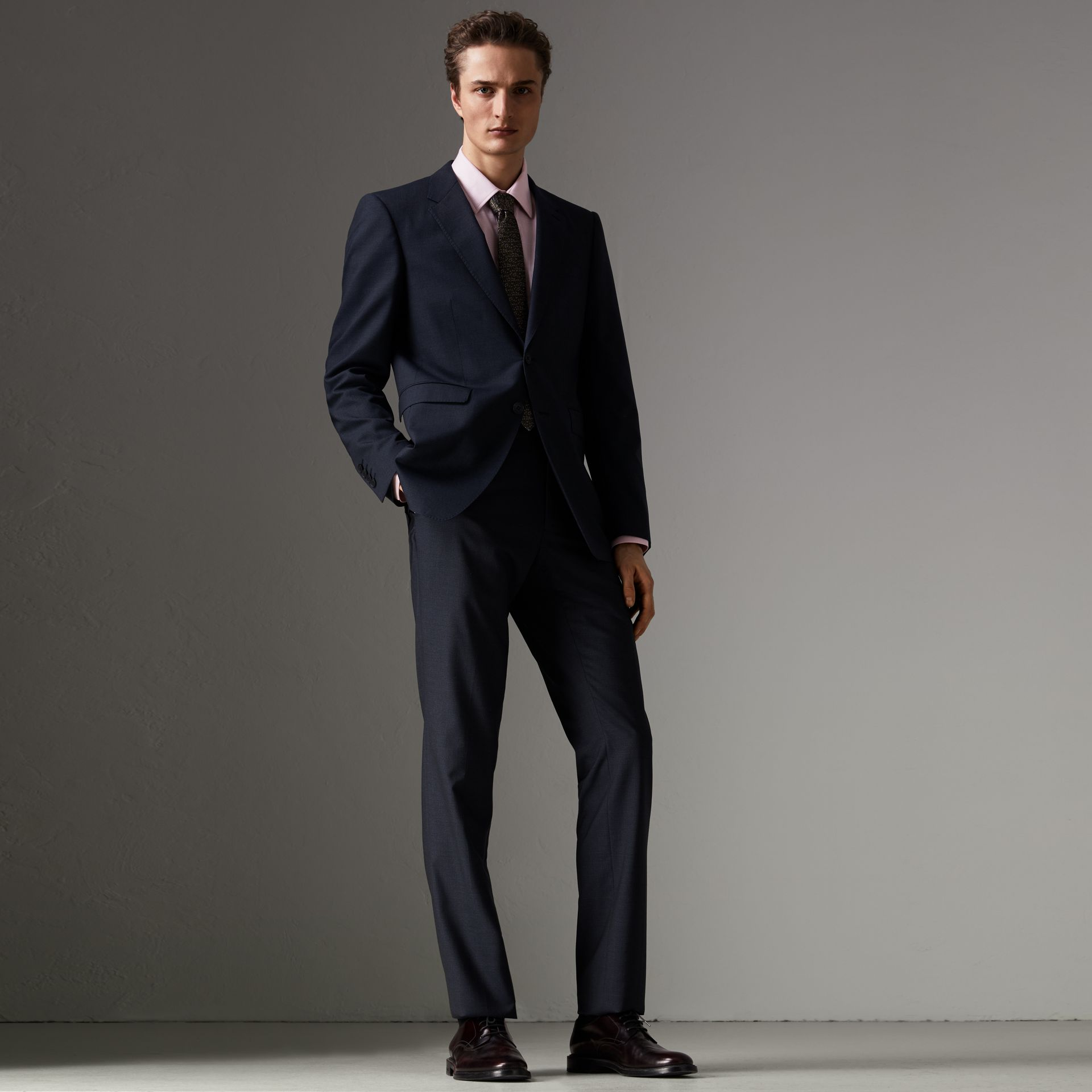Modern Fit Wool Half-canvas Suit in Navy - Men | Burberry - gallery image 0
