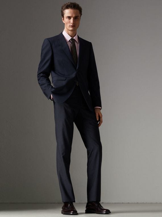 Modern Fit Wool Half-canvas Suit in Navy