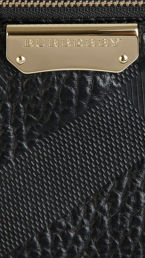 Black Small Embossed Check Leather Clutch Bag - Image 6