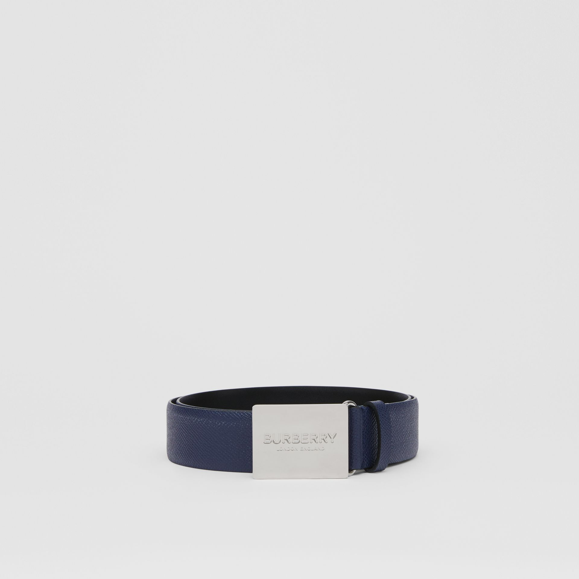 Plaque Buckle Grainy Leather Belt in Navy - Men | Burberry - gallery image 3