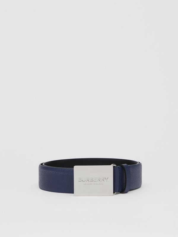 Plaque Buckle Grainy Leather Belt in Navy - Men | Burberry - cell image 3