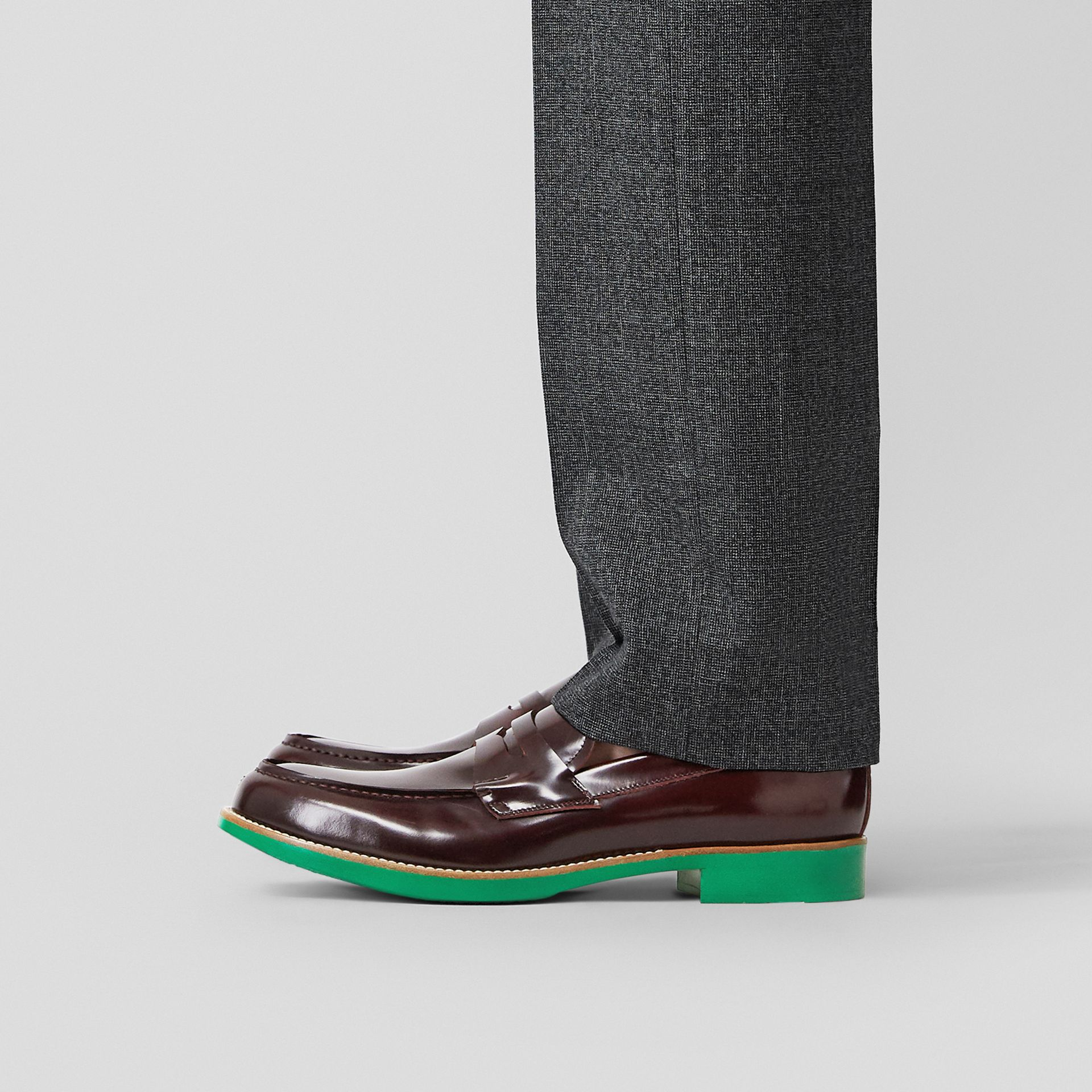 D-ring Detail Contrast Sole Leather Loafers in Bordeaux/green - Men | Burberry Singapore - gallery image 2