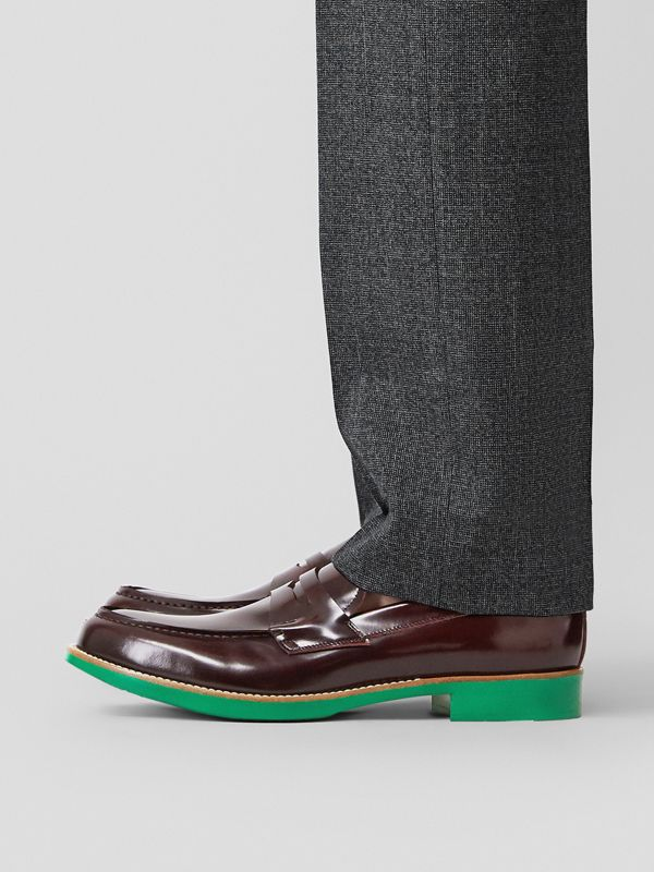 D-ring Detail Contrast Sole Leather Loafers in Bordeaux/green - Men | Burberry Singapore - cell image 2