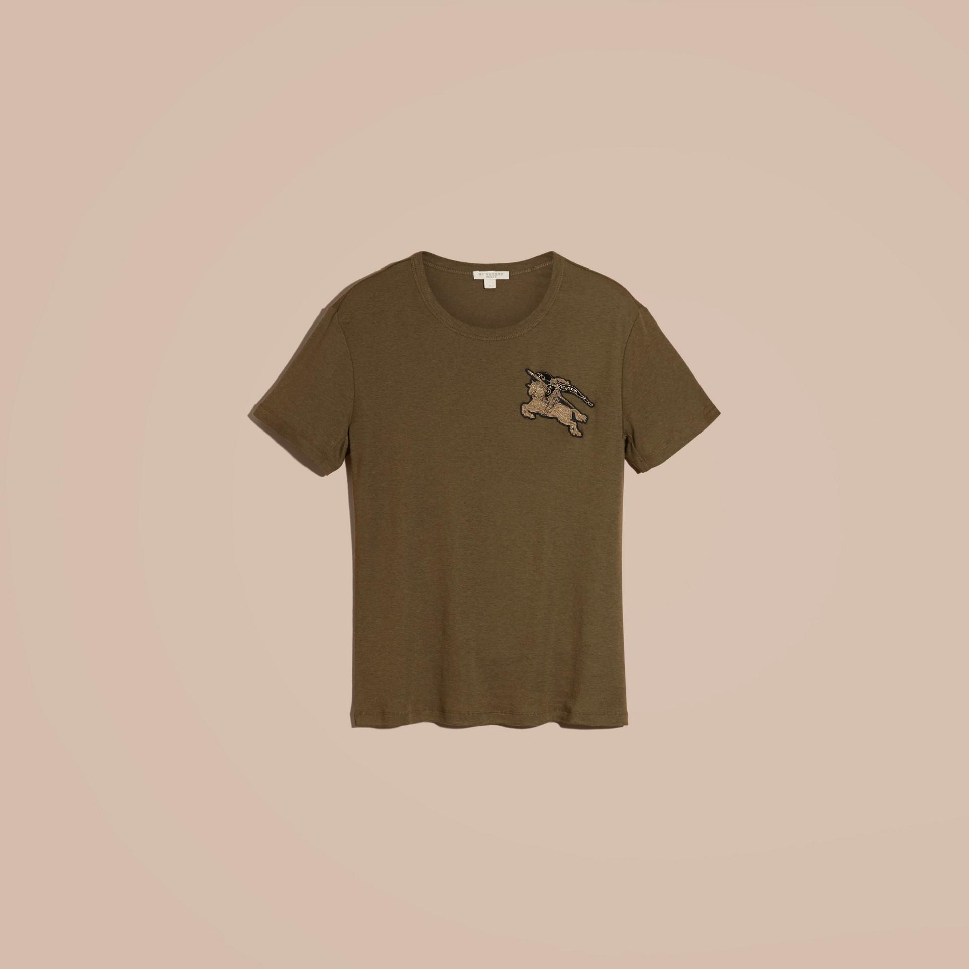 Vert militaire T-shirt en coton et laine mélangés Vert Militaire - photo de la galerie 6
