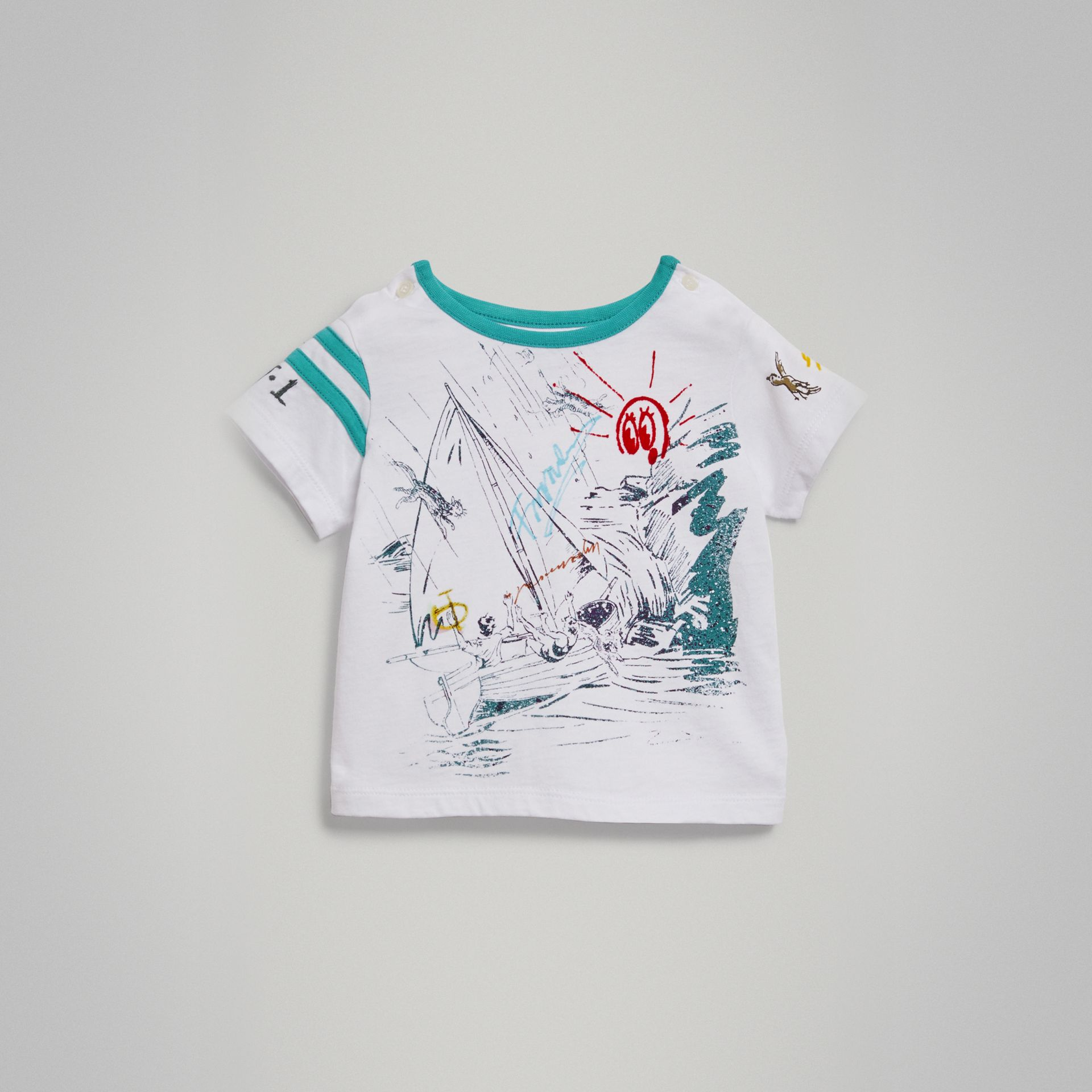 Adventure Motif Cotton T-shirt in White - Children | Burberry - gallery image 0