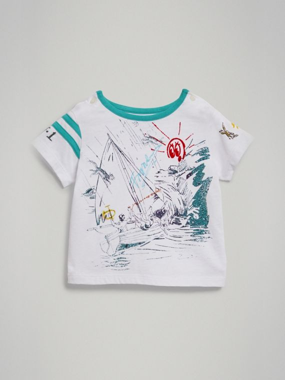 Adventure Motif Cotton T-shirt in White