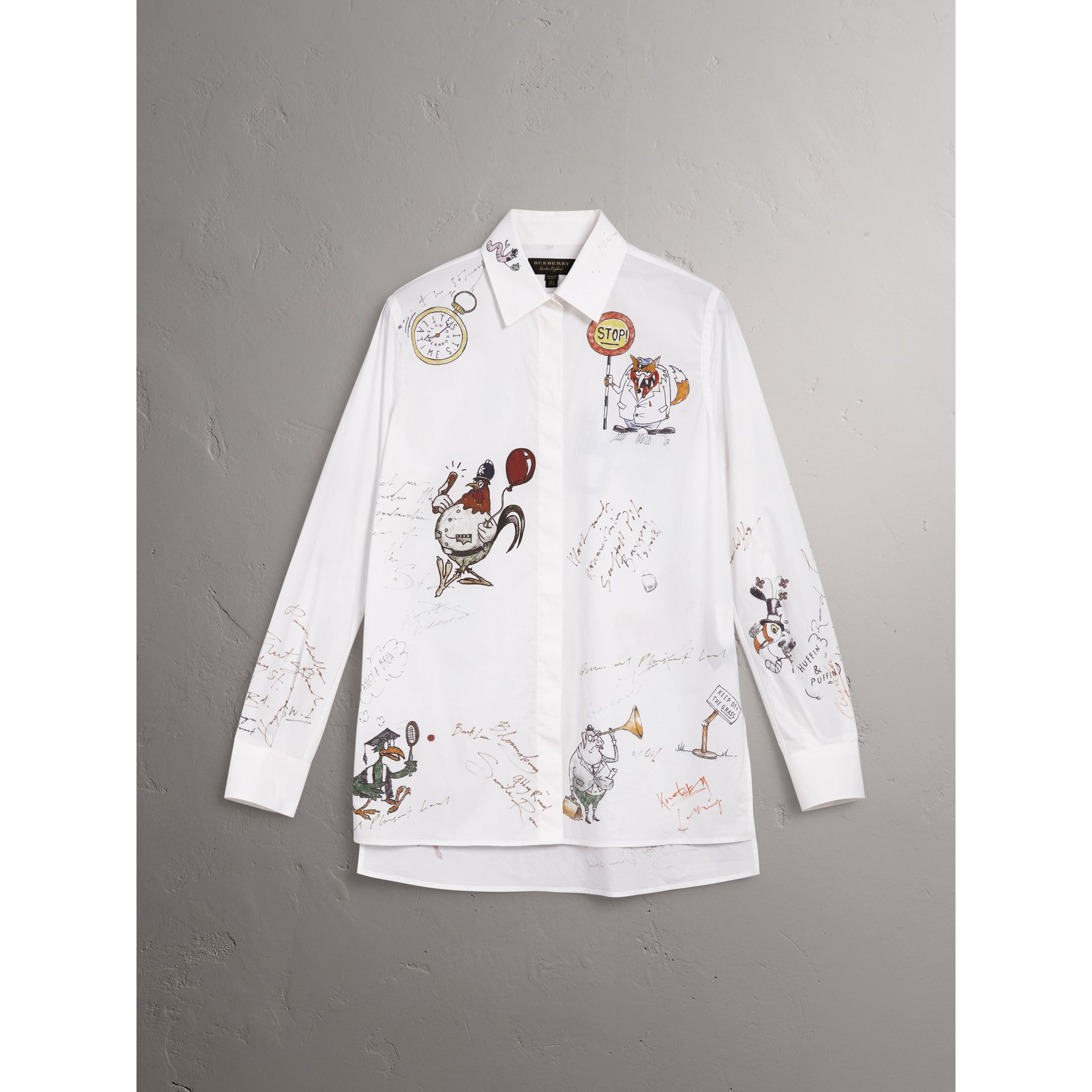 Sketch Print Cotton Shirt in White - Women | Burberry United Kingdom - gallery image 3