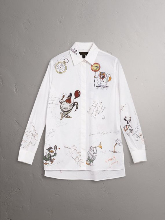 Sketch Print Cotton Shirt in White - Women | Burberry United States - cell image 3