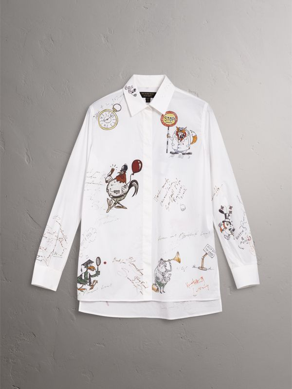 Sketch Print Cotton Shirt in White - Women | Burberry - cell image 3