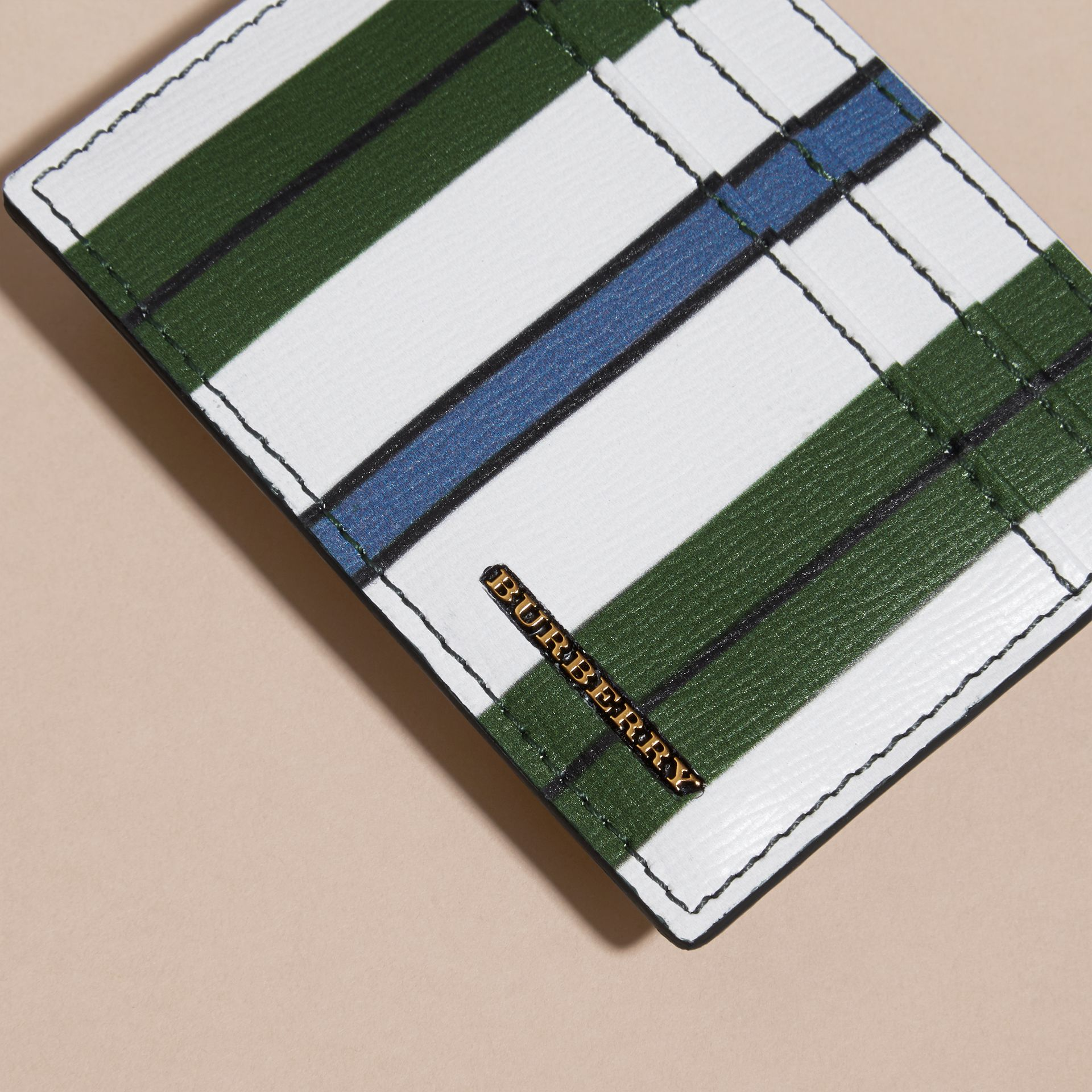 Olive green Pyjama Stripe London Leather Card Case Olive Green - gallery image 2
