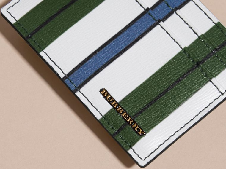 Pyjama Stripe London Leather Card Case Olive Green - cell image 1
