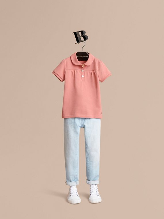 Peter Pan Collar Cotton Piqué Polo Shirt in Pale Rose - Girl | Burberry