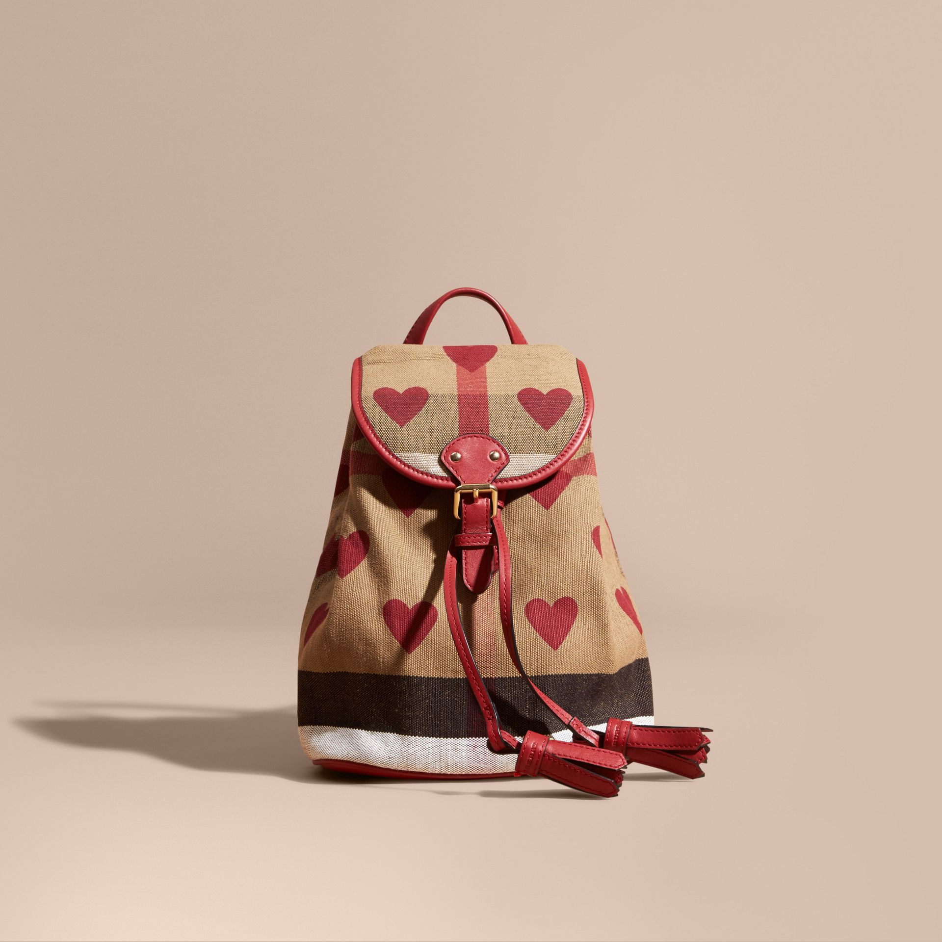 Parade red Heart Print Canvas Check Mini Backpack - gallery image 6