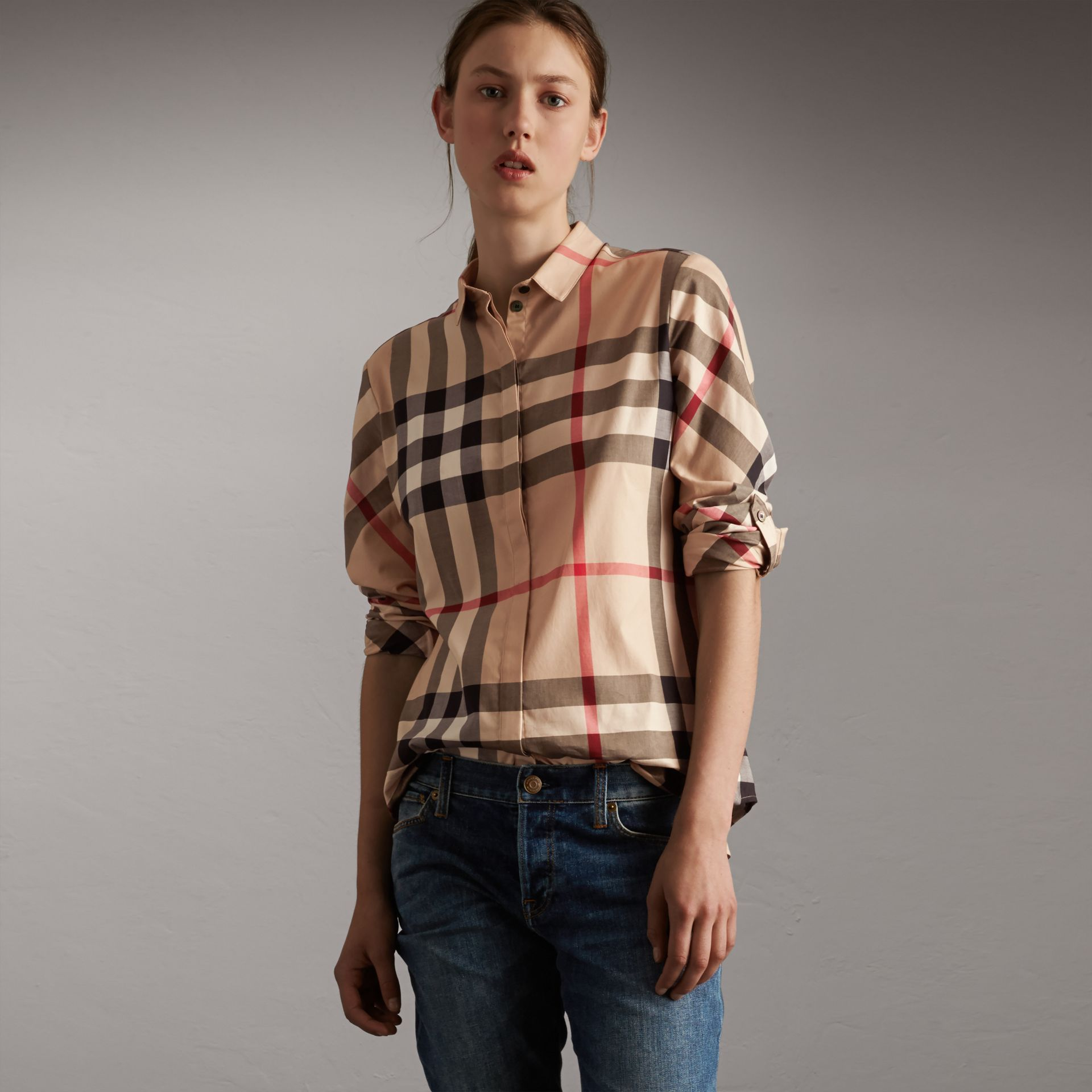 Stretch-Cotton Check Shirt in New Classic - Women | Burberry - gallery image 0