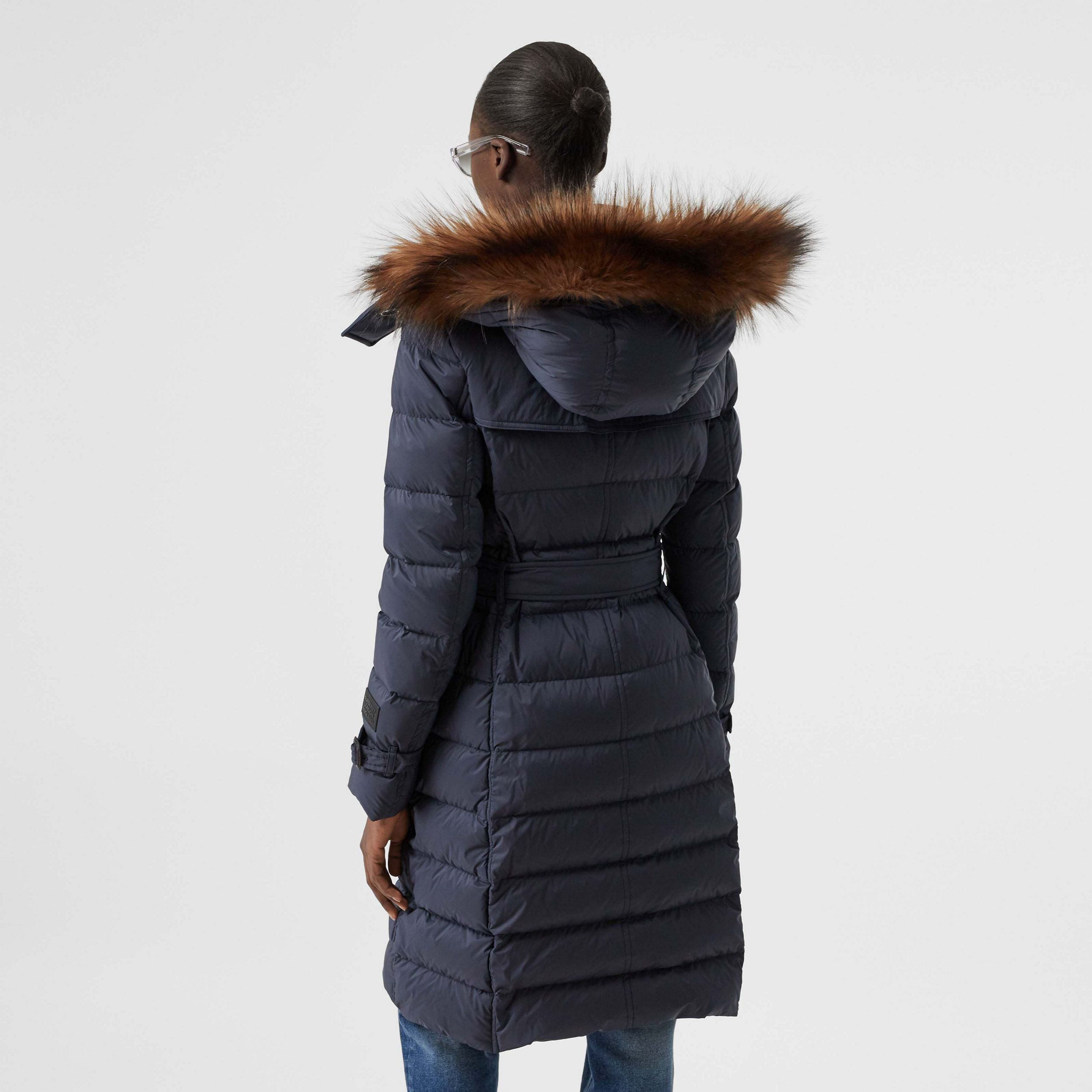 Detachable Hood Down-filled Coat in Navy - Women | Burberry Hong Kong S.A.R - 3