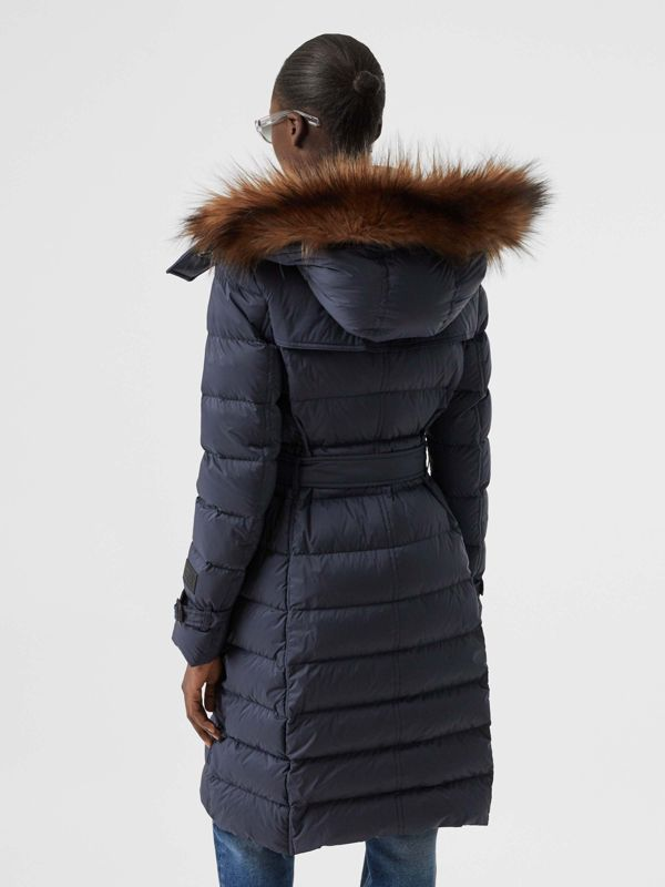 Detachable Hood Down-filled Coat in Navy - Women | Burberry - cell image 2