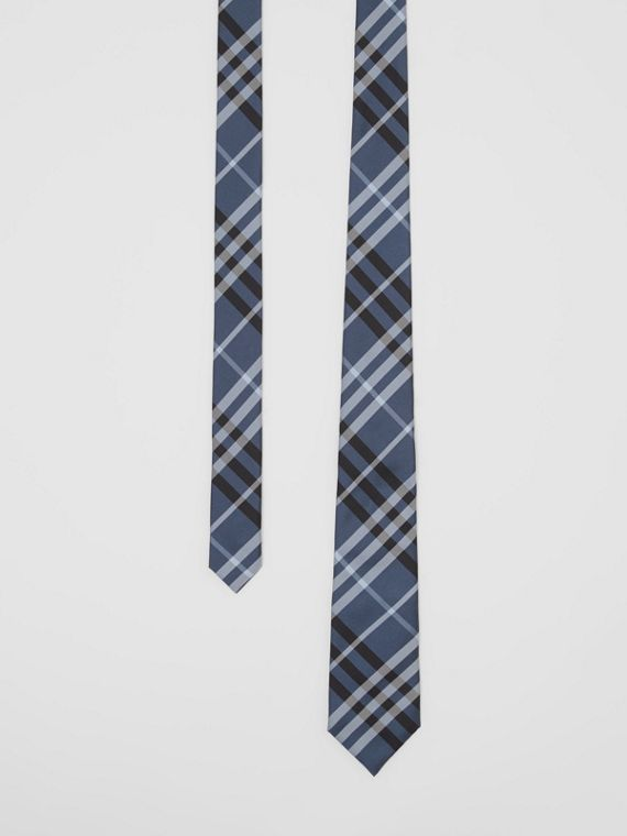 Classic Cut Vintage Check Silk Tie in Steel Blue