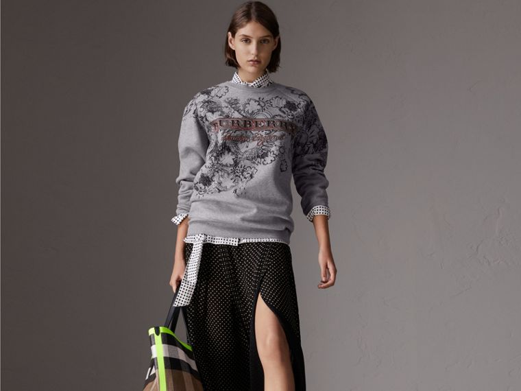 Doodle Print Jersey Sweatshirt in Pale Grey Melange - Women | Burberry - cell image 4