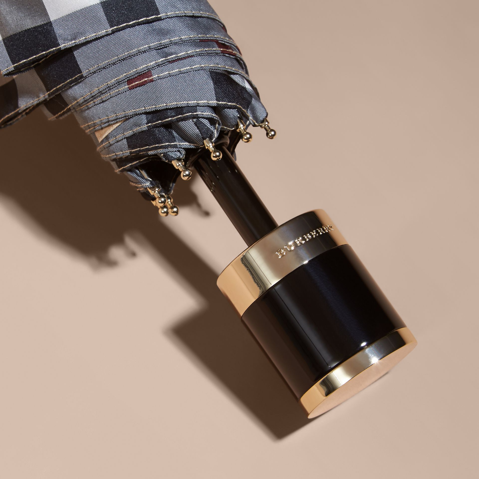 Check Folding Umbrella in Stone | Burberry Singapore - gallery image 3