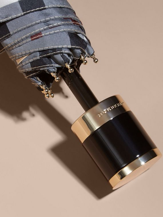Check Folding Umbrella in Stone | Burberry Australia - cell image 2