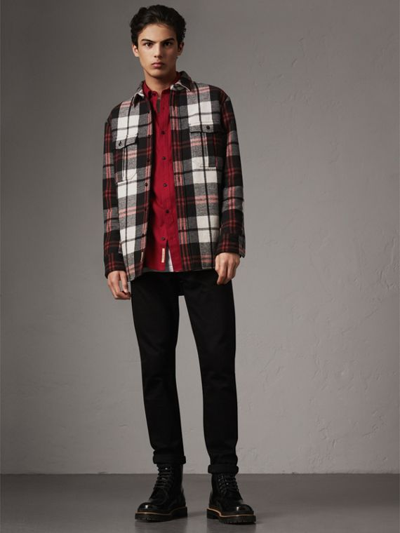 Lightweight Cotton Flannel Shirt in Crimson Red - Men | Burberry - cell image 3
