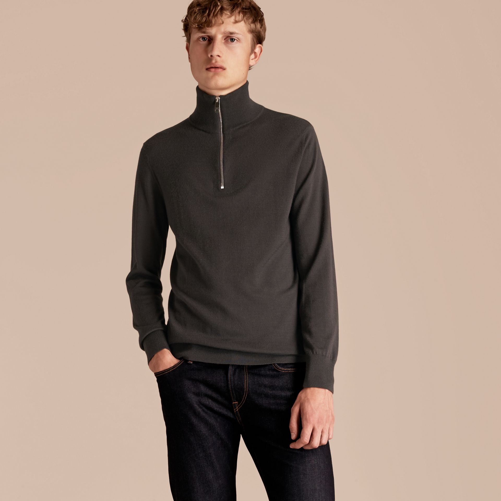 Zip-collar Cashmere Sweater Mid Grey Melange - gallery image 6