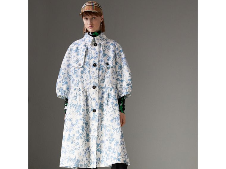 Reissued 2005 Floral Print Linen Dress Coat in Blue China - Women | Burberry - cell image 4