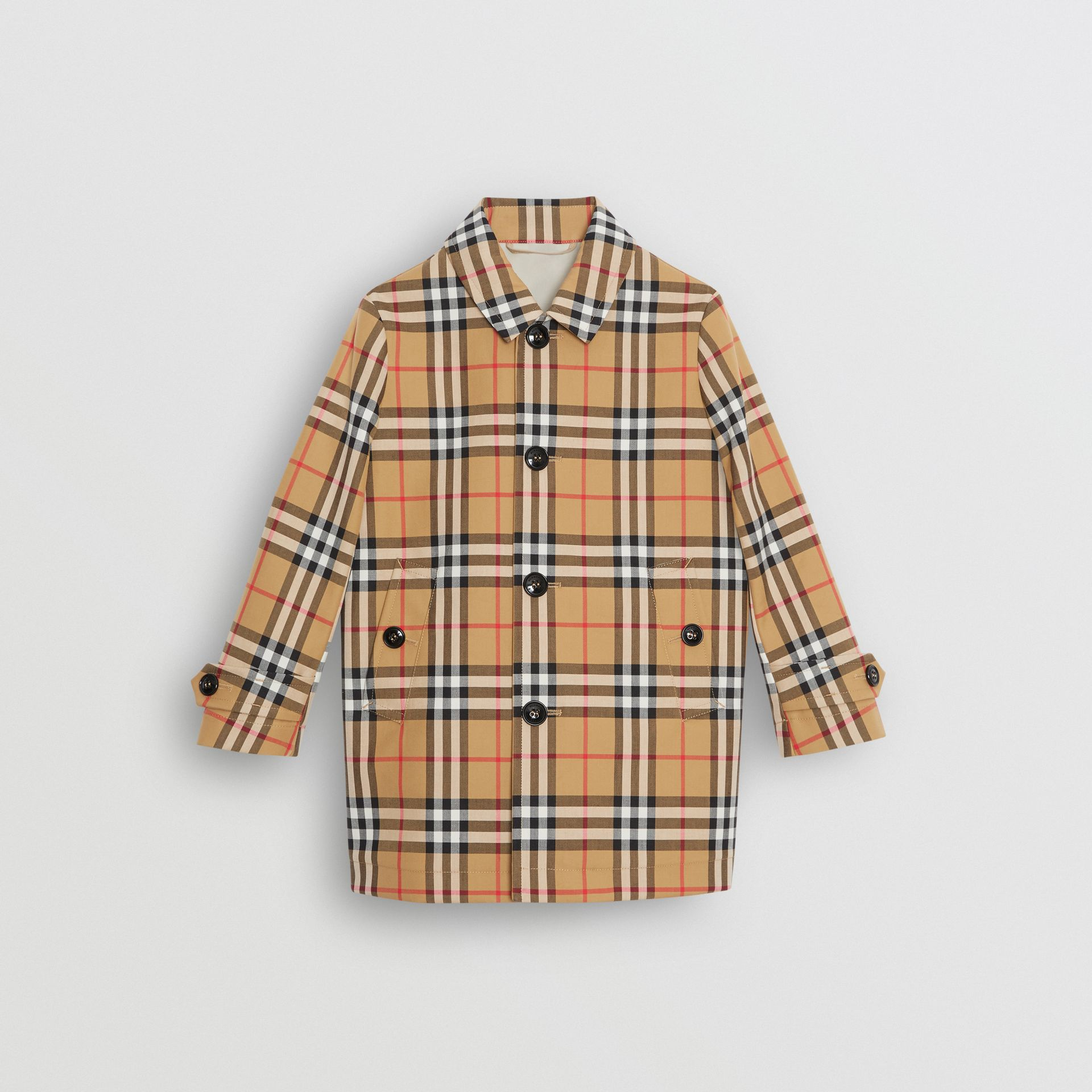 Vintage Check Cotton Car Coat in Antique Yellow - Boy | Burberry Hong Kong - gallery image 0