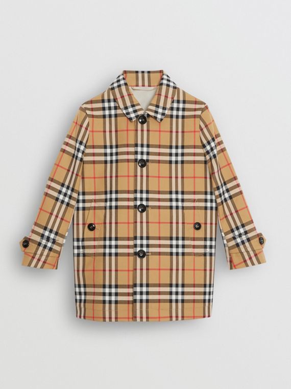 Vintage Check Cotton Car Coat in Antique Yellow