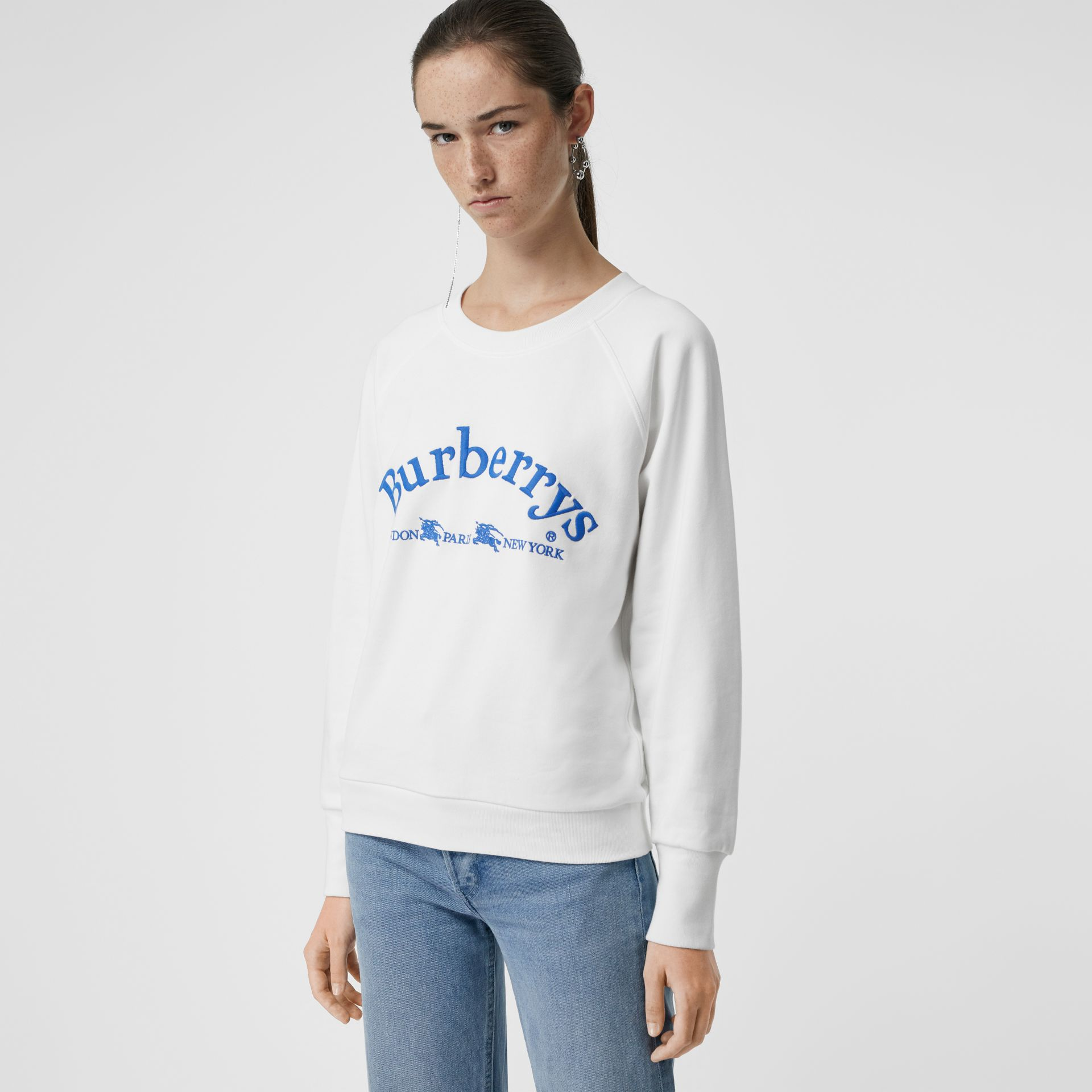 Embroidered Archive Logo Jersey Sweatshirt in White - Women | Burberry United Kingdom - gallery image 4