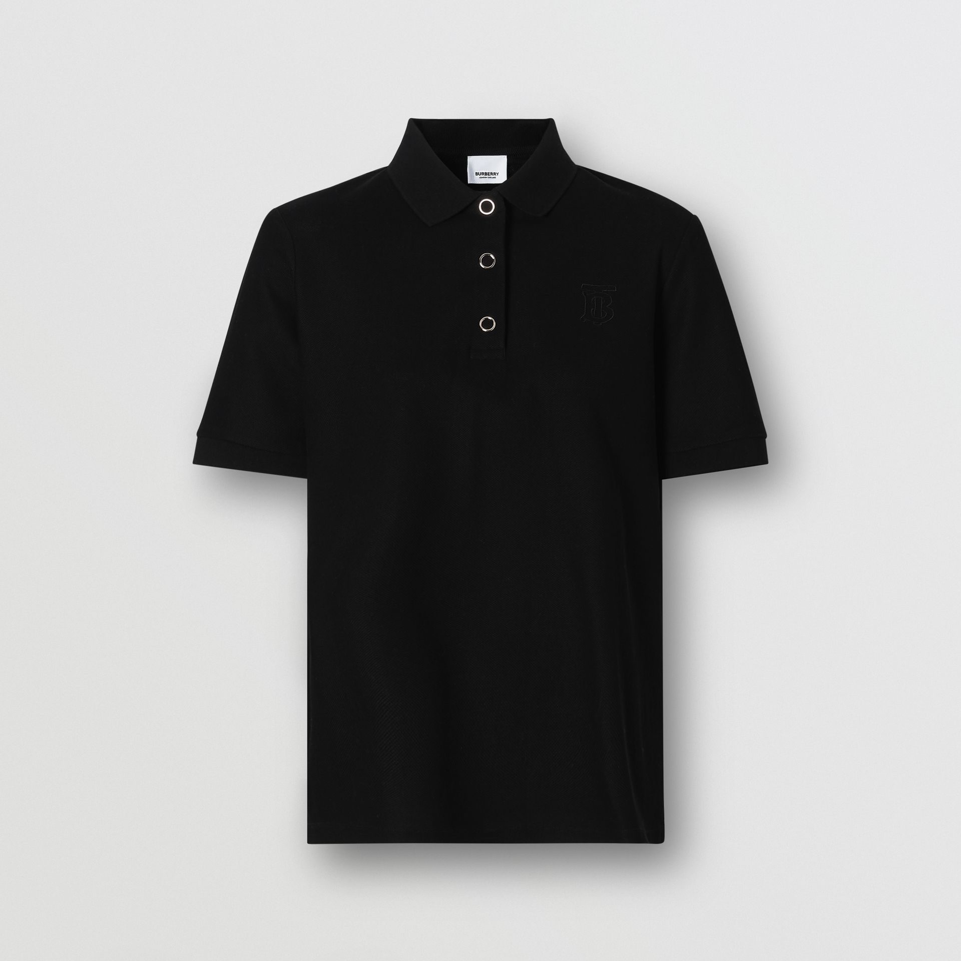 Monogram Motif Cotton Piqué Polo Shirt in Black - Women | Burberry - gallery image 3