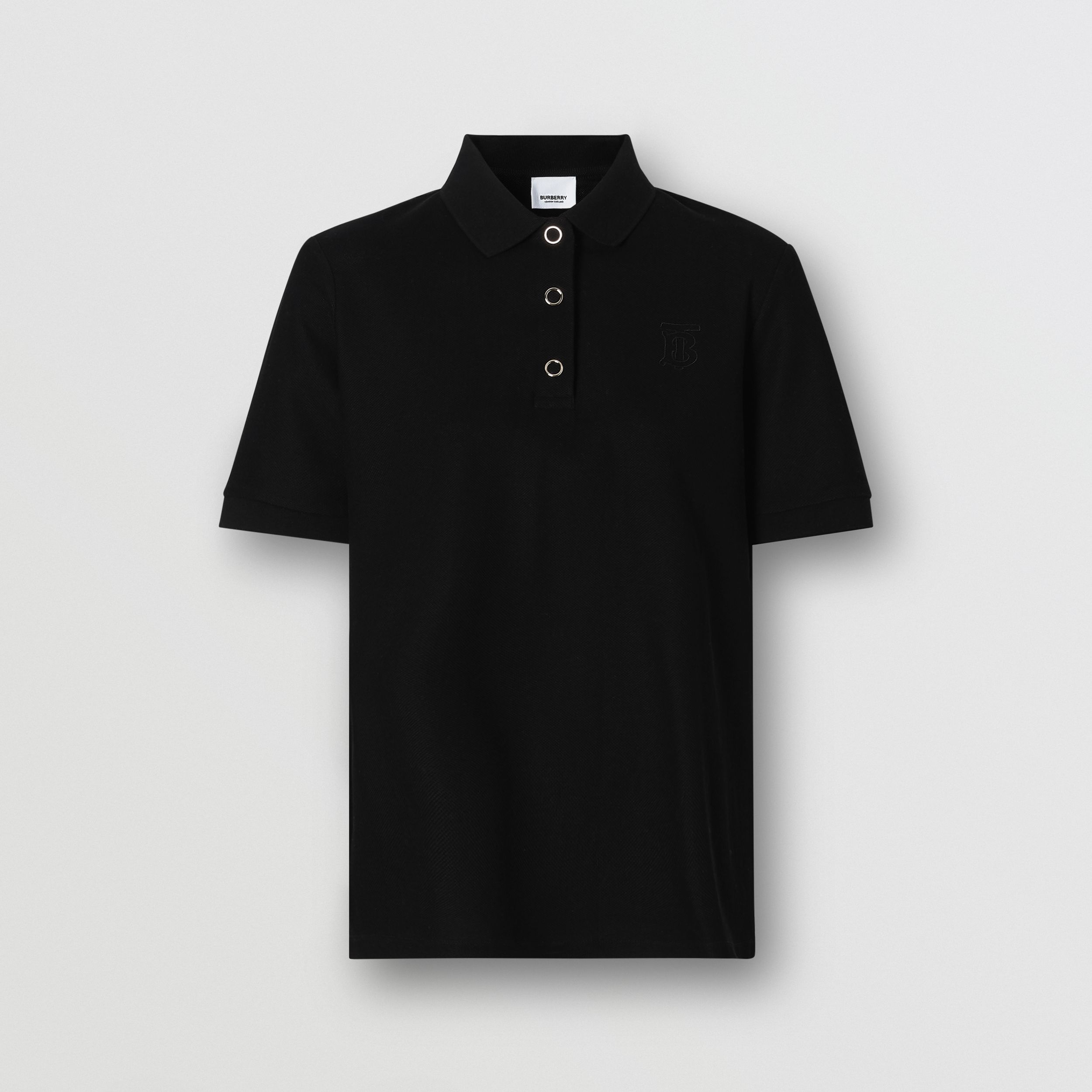 Monogram Motif Cotton Piqué Polo Shirt in Black - Women | Burberry - 4