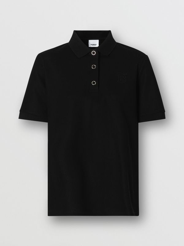 Monogram Motif Cotton Piqué Polo Shirt in Black - Women | Burberry - cell image 3