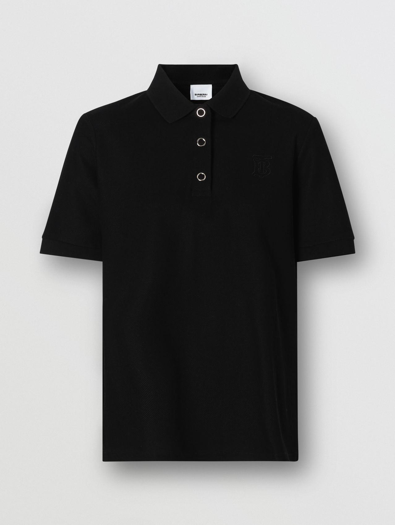 Monogram Motif Cotton Piqué Polo Shirt in Black