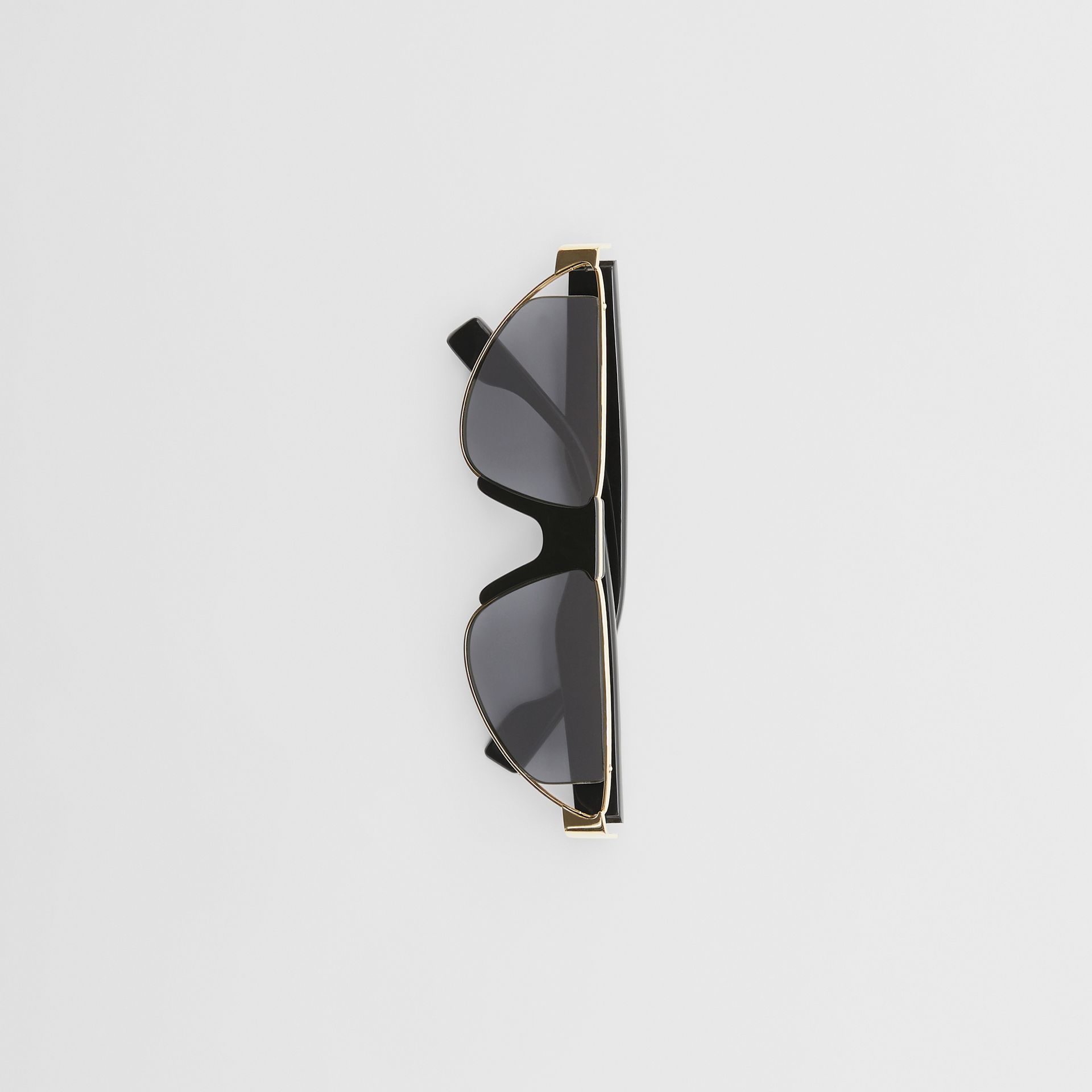 Gold-plated Triangular Frame Sunglasses in Black | Burberry Australia - gallery image 3