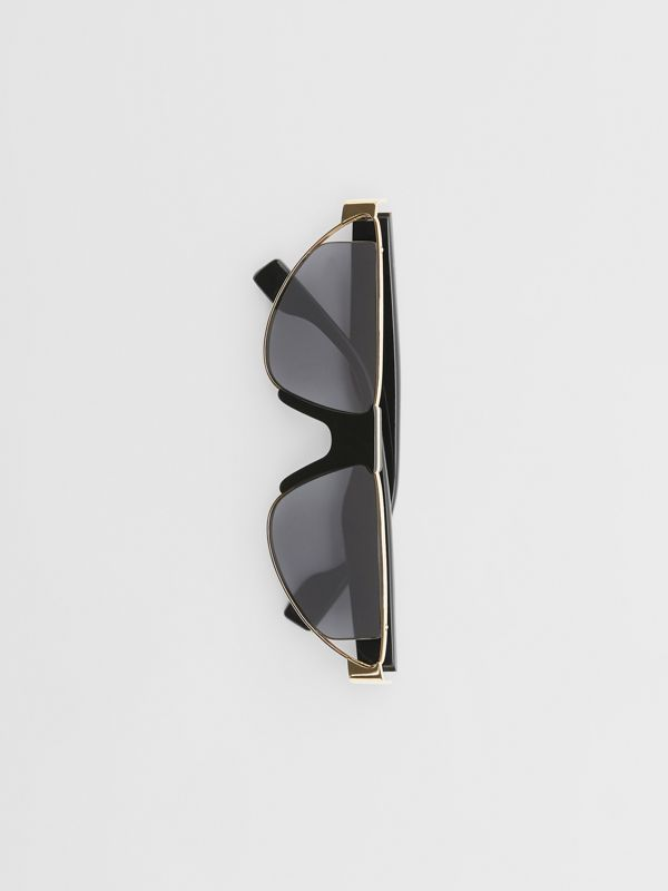 Gold-plated Triangular Frame Sunglasses in Black | Burberry Australia - cell image 3