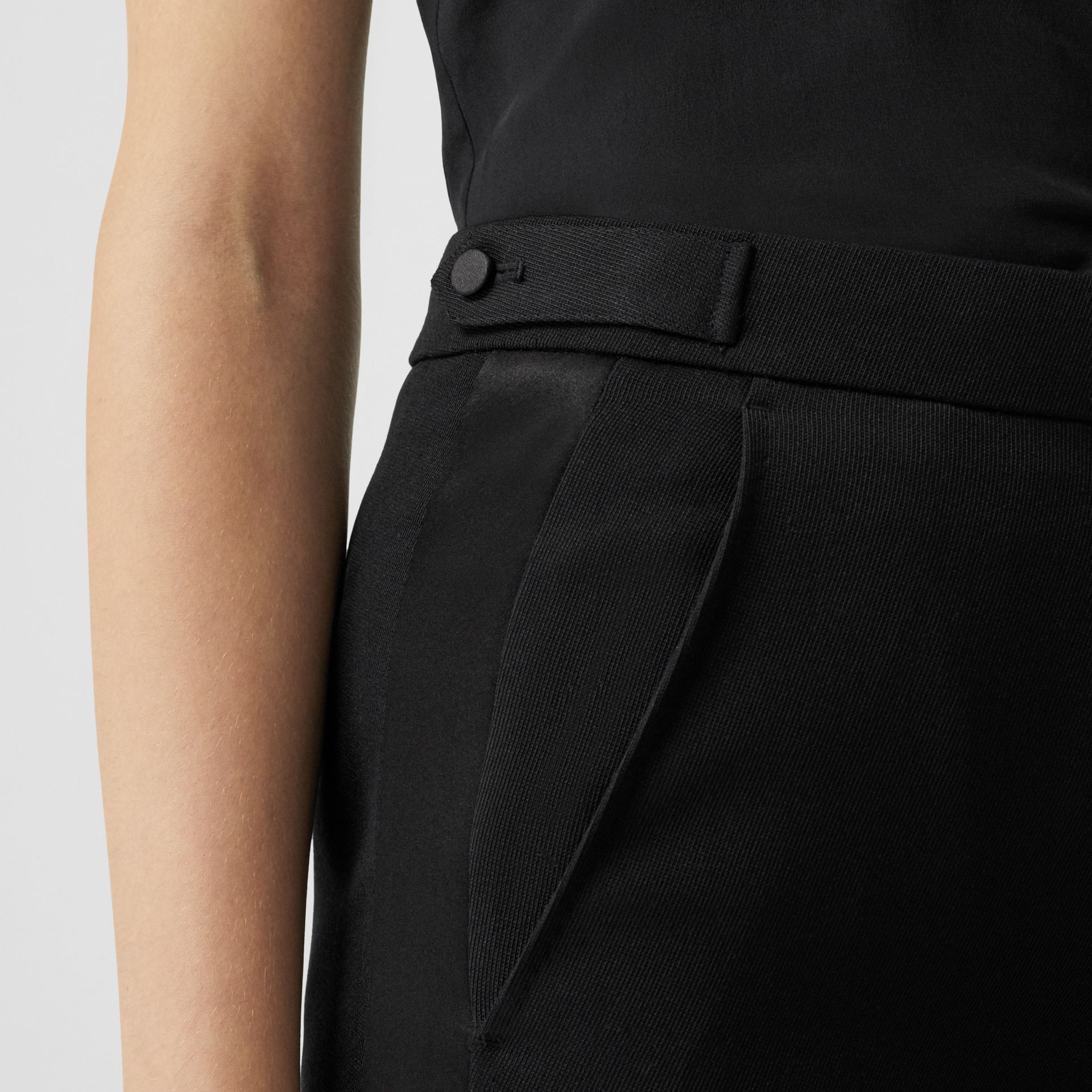 Satin Stripe Wool Tailored Trousers in Black - Women | Burberry United Kingdom - gallery image 4