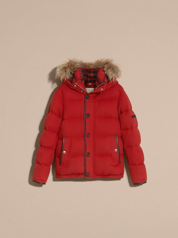 Down-filled Cashmere Jacket with Detachable Fur Trim in Parade Red - cell image 3