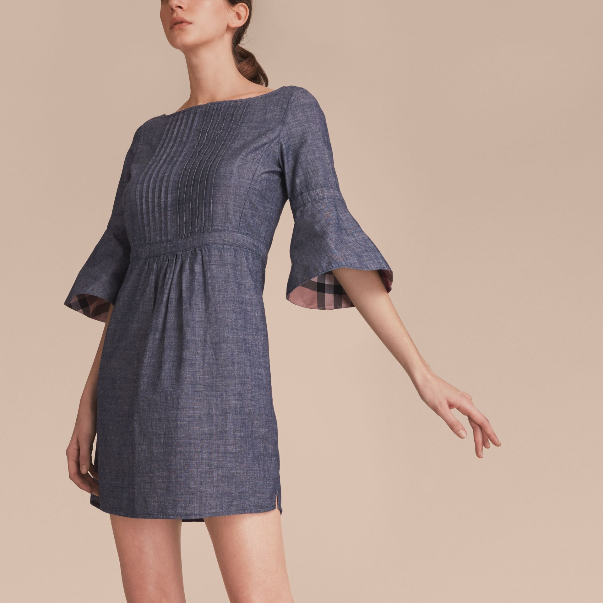 Bell Sleeve Cotton Chambray Dress with Check Detail - gallery image 5