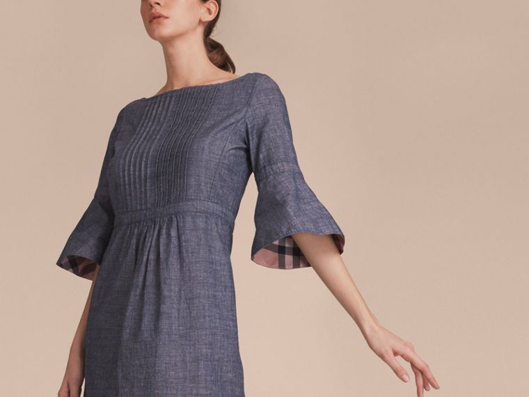 Bell Sleeve Cotton Chambray Dress with Check Detail - cell image 4