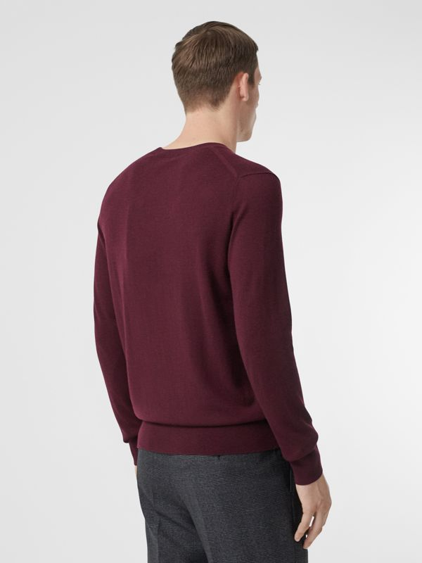 Monogram Motif Cashmere Sweater in Burgundy - Men | Burberry - cell image 2