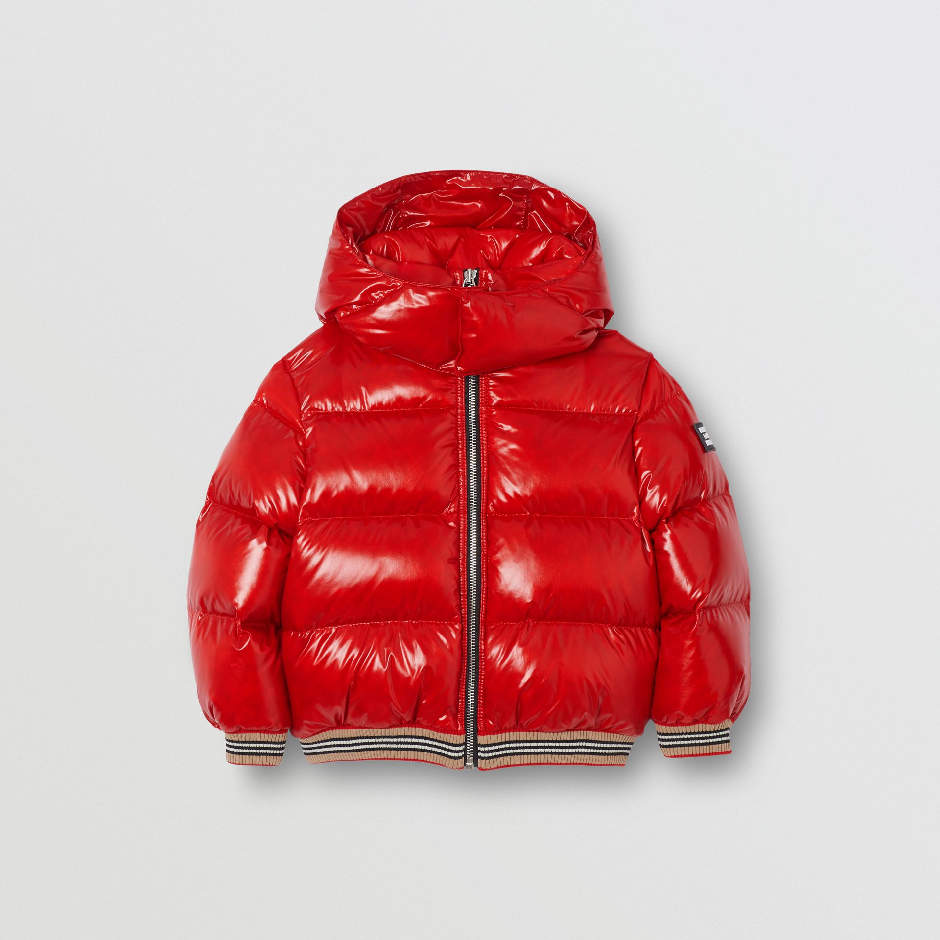 Icon Stripe Detail Down-filled Hooded Puffer Jacket in Bright Red | Burberry Singapore - gallery image 0